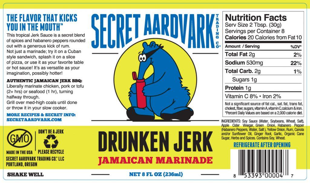 Secret Aardvark Drunken Jerk Jamaican Marinade Sauce label
