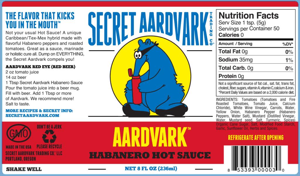 Secret Aardvark Habanero hot sauce label