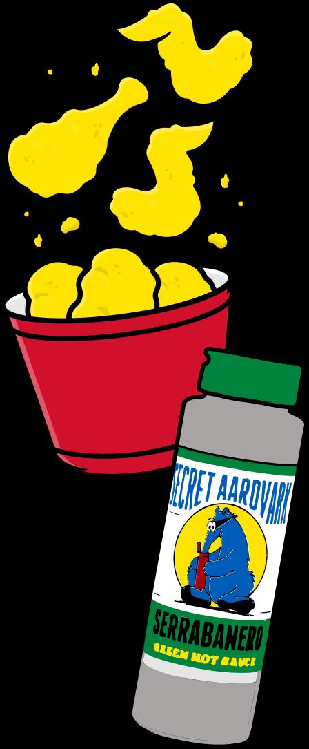 tub of wings and serrabanero sauce